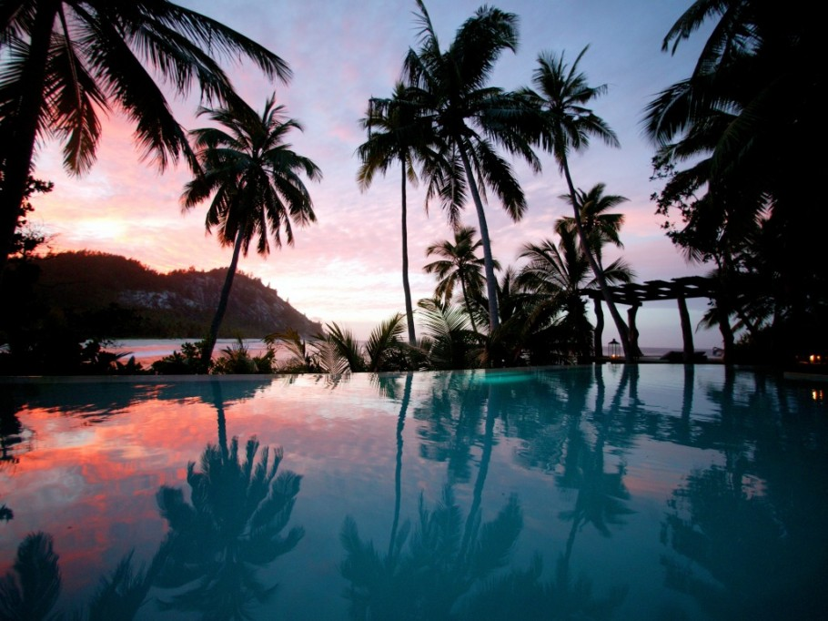 Seychelles Infinity Pool Night